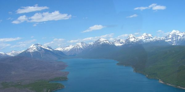Picture taken from a helicopter at Lake MacDonald in Glacier National Park.