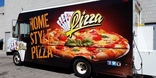 Van wrap for Aces Pizza