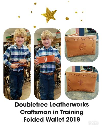 The youngest leather crafter in our shop!