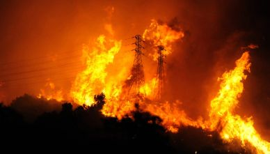 High tension power line consumed by flames