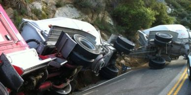 Truck wreck on Ortega Highway
