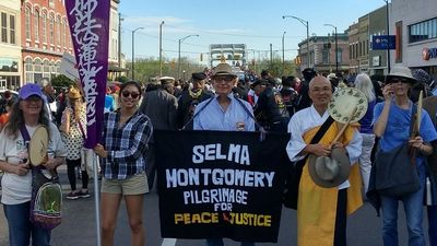 Peace walkers in Selma, Alabama on the first day of the Peace Pilgrimage.