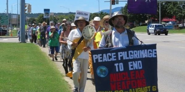 Peace walkers form a long line in Oak Ridge, Tennessee, calling for an end to nuclear weapons.