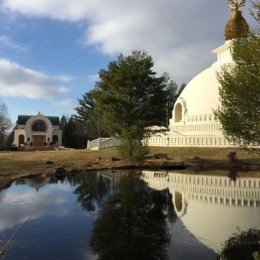 The New England Peace Pagoda is located in Leverett, Massachusetts.