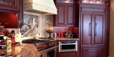 High-end glazed cherry wood kitchen