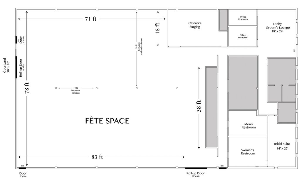 Fete The Venue Floor plan - not to scale