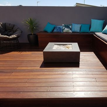 decking bench seats fire pit screens