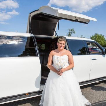 Bride limo beautiful