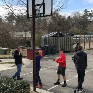 Students playing outside at a private school in Wilmington, NC