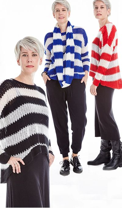 Stripe Hi Low Pullover Sweater FW18 Kelley Derrett Collection Women's Clothing [Shop Details]