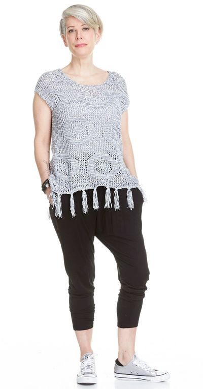 Fringed Poncho Pullover Sweater Spr/Sum Kelley Derrett Collection Women's Clothing [Shop Details]