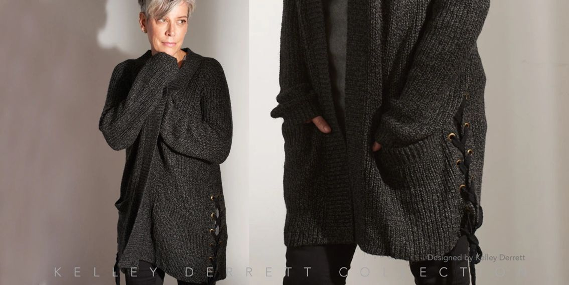 Fall Winter 18  Winter Chunky's Side Lace Cardigan Kelley Derrett Collection Women's Clothing