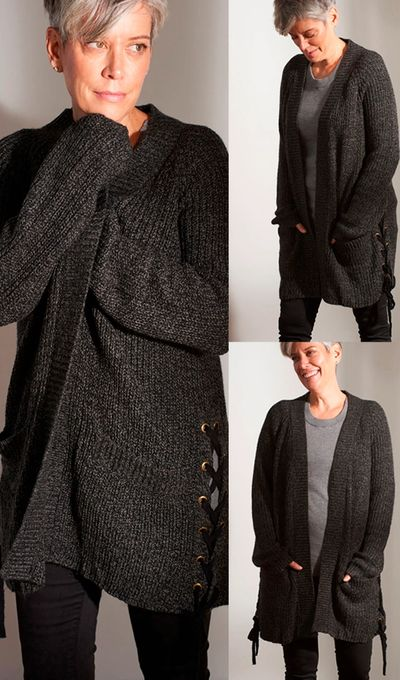 Side Lace Open Cardigan Sweater FW18 Kelley Derrett Collection Women's Clothing [Shop Details]