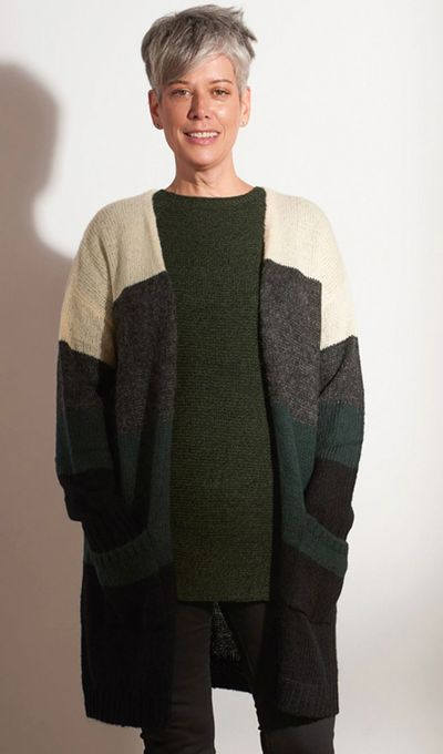 Colour Block Cardigan Sweater FW18 Kelley Derrett Collection Women's Clothing [Shop Details]