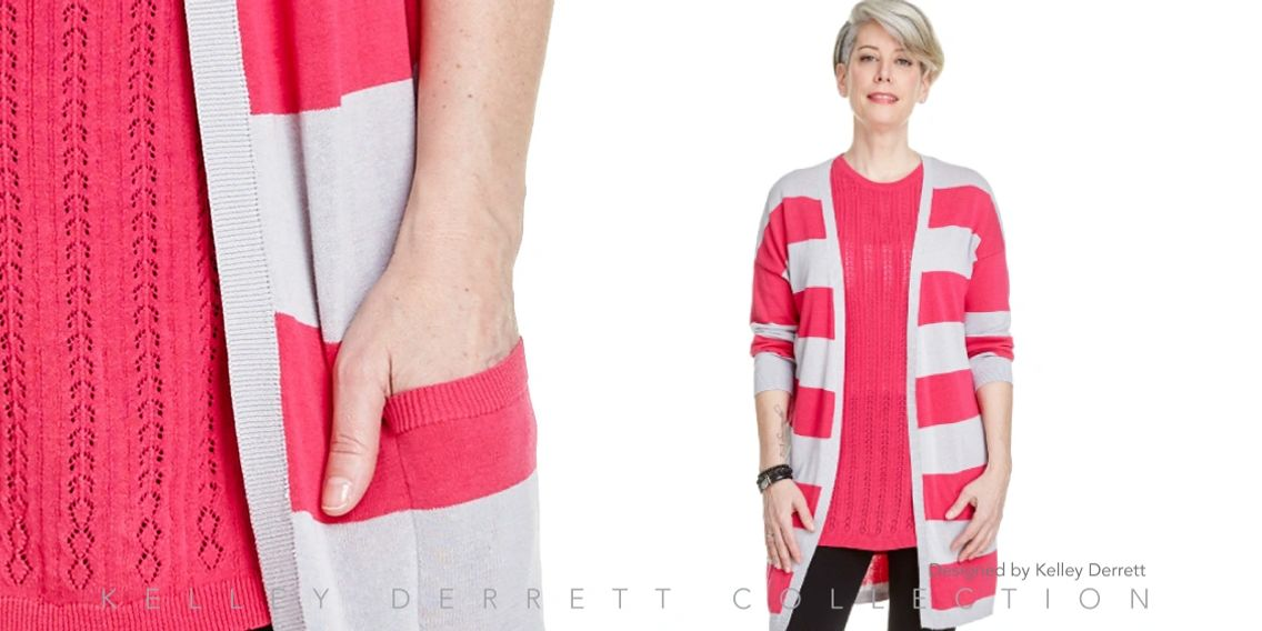 Stripe Open Cardigan Sweater SS18 Kelley Derrett Collection Women's Clothing