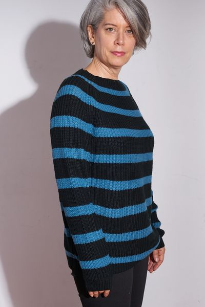 Teal Striped Shaker PO FW Kelley Derrett Collection Women's Clothing [Shop Details]