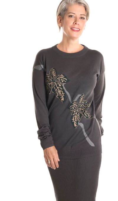 Intarsia Leaf Pullover Sweater FW18 Kelley Derrett Collection Women's Clothing [Shop Details]