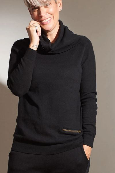 Cashmere Cowl Neck w/ zip pocket PO FW Kelley Derrett Collection Women's Clothing [Shop Details]