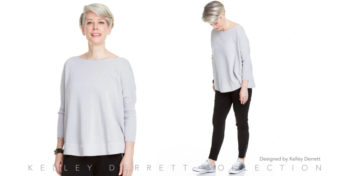 Curved Hem Pullover Sweater SS18 Kelley Derrett Collection Women's Clothing