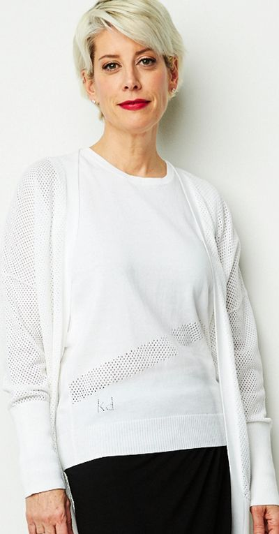 Inset Mesh Tank Pullover Sweater Spr/Sum Kelley Derrett Collection Women's Clothing [Shop Details]