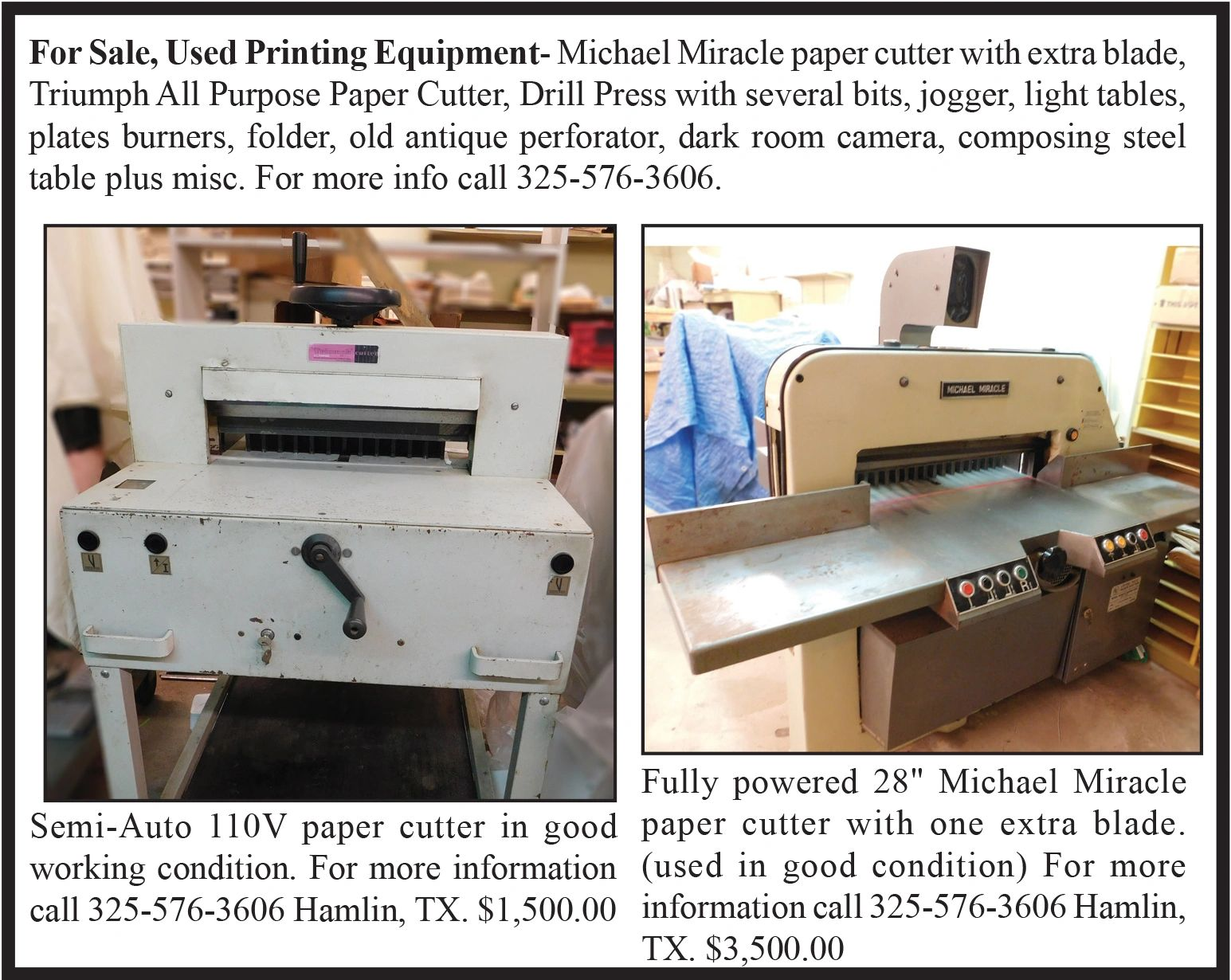 Used Printing Equipment for Sale