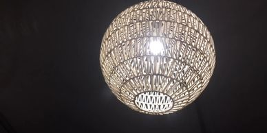 white Rattan Ball Large