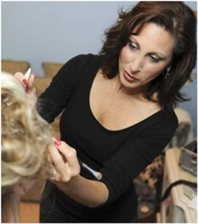 GraceMarie working on Talena Davis for a Merrimack Valley Magazine Photo Shoot. Photographed by Melissa Desjardins