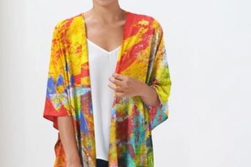 Sherwood Forest Wrap, colorful sheer coverup, 3/4 length sleeves, kimono cape. Wear over anything!