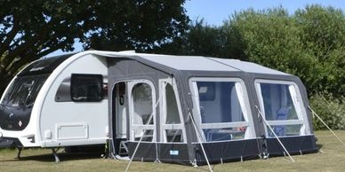Caravan awnings both inflatable and poled.