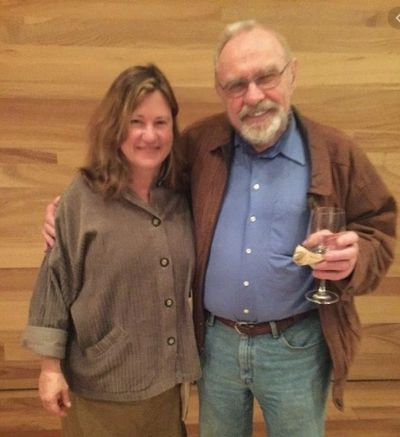 At a Demeter event, Pam Strayer with regenerative ag leader Fred Kirchshenmann
