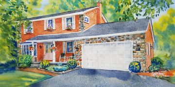 watercolor home portrait painted from photo