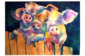 Waiting For Wolfie Three Pigs Watercolor Print