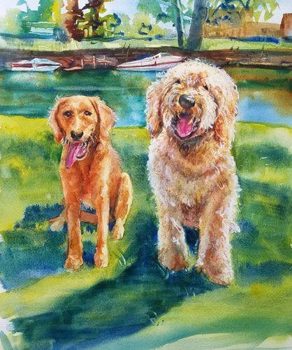 47241b1df328 Custom Watercolor Portraits of Homes, People & Pets