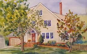 watercolor home portrait painting from photo
