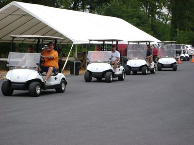 Golfers in carts