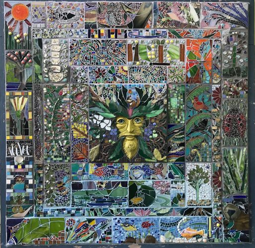 Green Man Community Mosaic Mural, 5'x5' To be installed in Cedar Park, Melrose in 2021