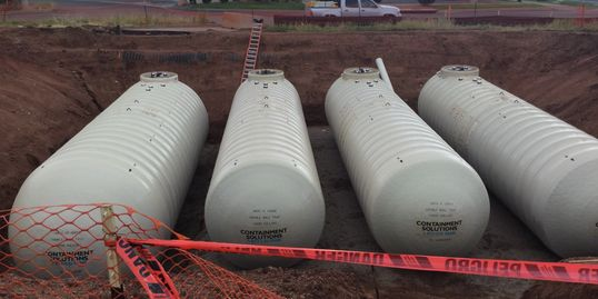 Fuel Tank Excavation after setting (3) 12,000 Gallon and (1) 20,000 Gallon tanks.
