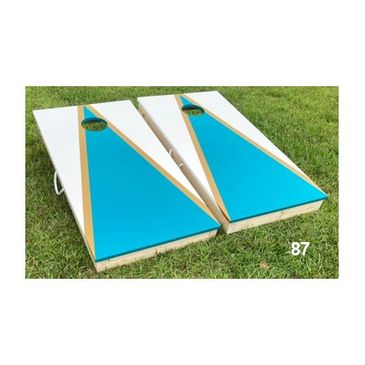 Teal and White Cornhole Boards