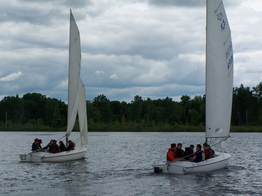 Students sail in Flyings Scots at the MSU Sailing Center
