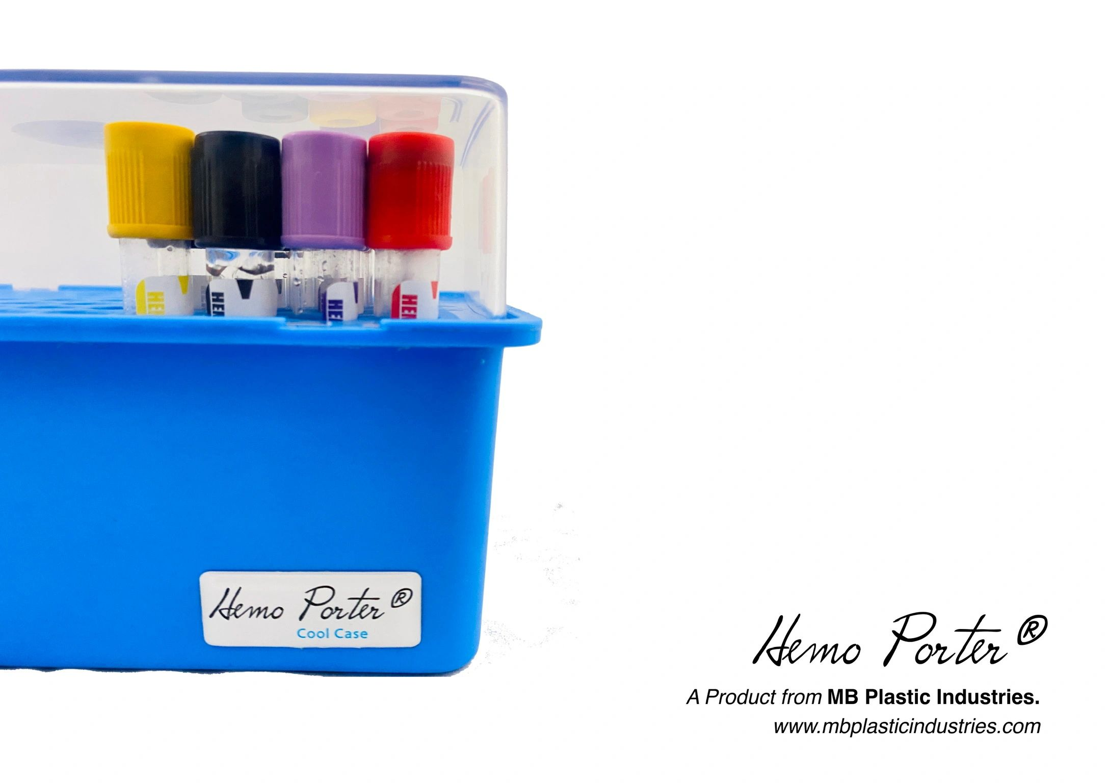 Hemo Porter. Cool Case to transport Blood collection tubes. MB Plastic Industries
