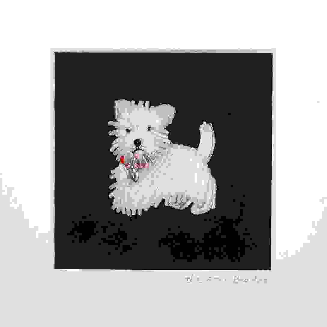 Holiday Custom Beaded Jewelry West Highland White Terrier Dog Framed Pet Portrait Bead embroidery