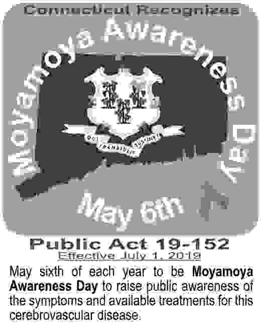 Image of State of CT with announcement that Connecticut Recognizes as Moyamoya Awareness Day - May 6