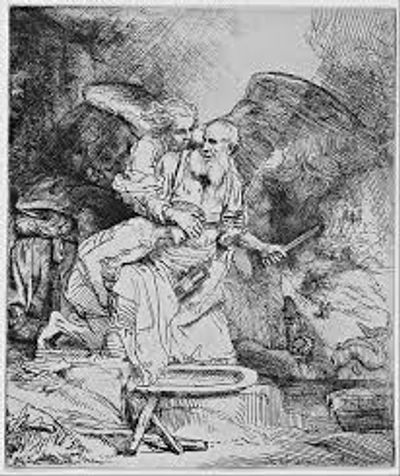 Rembrandt sketch of Abraham and Isaac