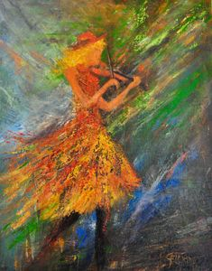 """THE VIOLINIST ACRYLIC ON CANVAS 22""x 30"""