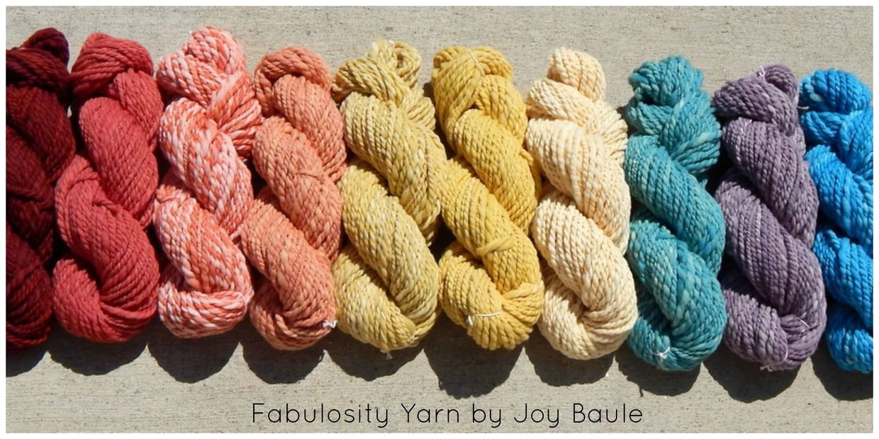 Handsspun wool yarn dyed with natural dyes.
