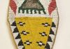 "(#805) Ute Tab Bag, c.1880-90, 10"" x 3.5"". Fully beaded & sinew-sewn 1 side in white, red white-heart, greasy yellow, black, green, black & metal bead"