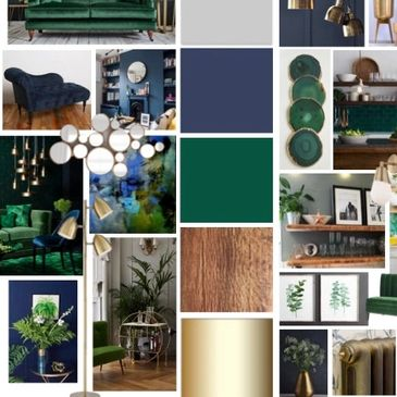 jade green interior design brass accents yorkshire open plan room layout kitchen design navy blue