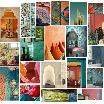 hair salon interior design moroccan theme jewel paint colours