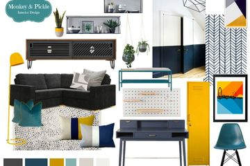mustard pop teal navy mustard colour blocking paint wallpapered back of shelves interior designer