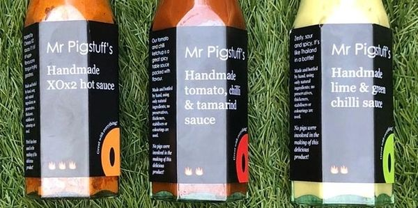 THREE of Mr Pigstuff's sauces, with  chilli  Mention substitutes in the PayPal purchase notes.